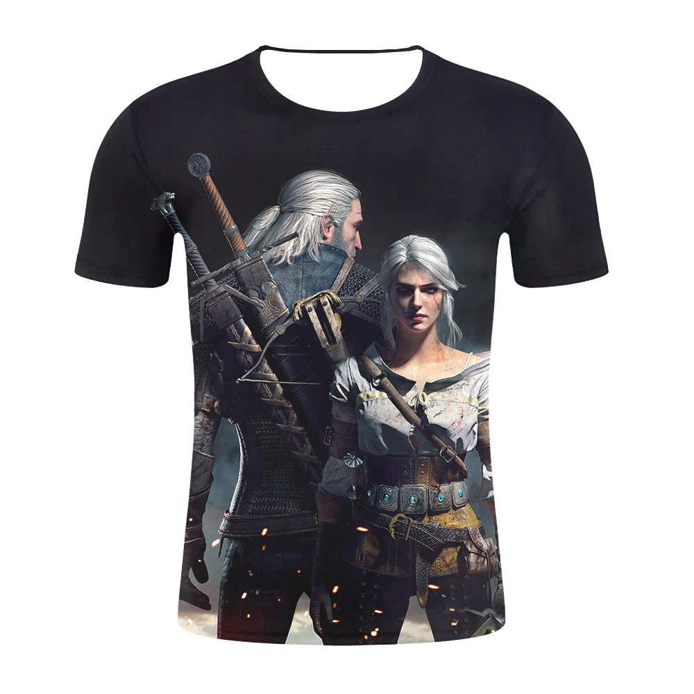 2019 Men Summer 3D   T     shirt   Print witcher 3 Short Sleeve Hip Hop Clothing Fashion Men/Women   T  -  Shirt   witcher 3D   t  -  shirts   drop ship