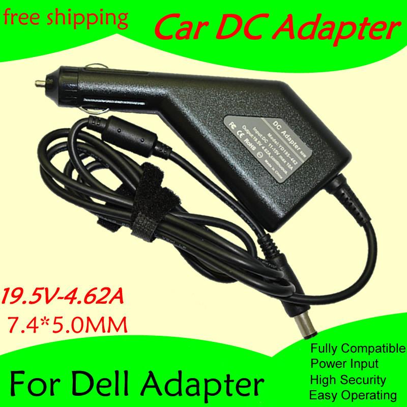 High Quality DC Power Car Adapter Charger 19.5V 4.62A For Laptop Dell 7.4*5.0MM 90W Input DC11-15V Max 10A