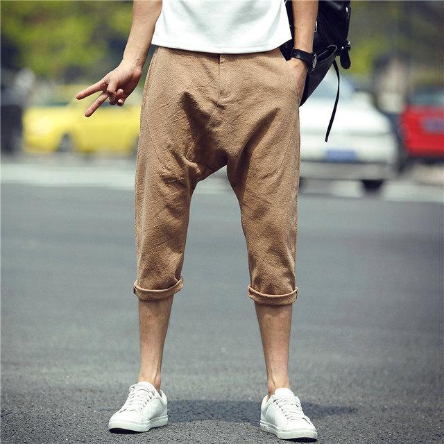 Casual Pants Men 2017 New Solid Leisure Pants Harem Men Slim Calf Length Trousers Men  Sweatpants