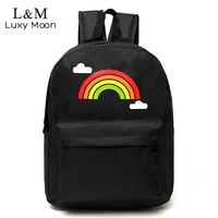 LUXY MOON School Backpack For Teenage Girls Cute Rainbow Rain Cloud Black Travel Bag Fashion Sport