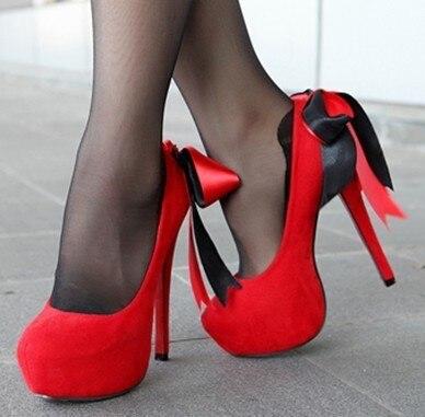 531 women shoes 5 1 2 inch stilettos heel 1 1 2 ingh platform bowtie red  bottom pumps ac6080c23