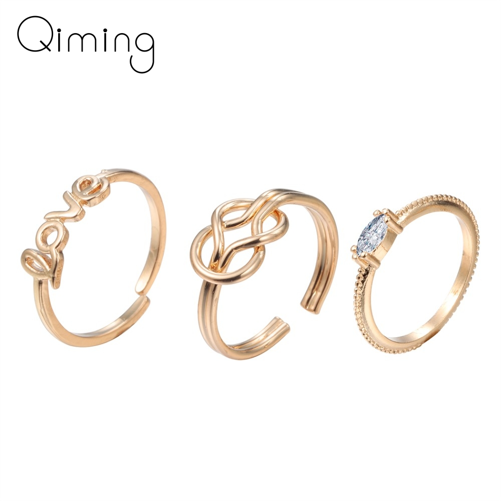 Fashion Rings 3pcs Golden Bow Knot Circles Stackable ...