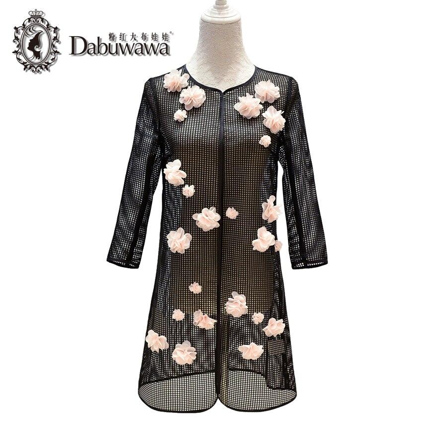 Dabuwawa Black Autumn Fashion Appliques Womens Windbreakers 3/4 Sleeve Vintage Casual Trench Coat