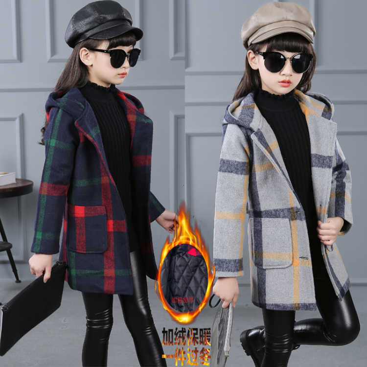 2018 Fall Winter Girls Plaid Woolen Jacket Outerwear Korean Children's Long Hooded Trench Coat Female Kids Casual Overcoat X233 new men s military style casual fashion canvas outdoor camping travel hooded trench coat outerwear mens army parka long jackets