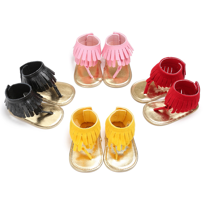 Cute Comfortable Baby Girl Tassel Summer Shoes Anti-slip Flip Flop Newborn Durable Prewalker Shoes FJ88