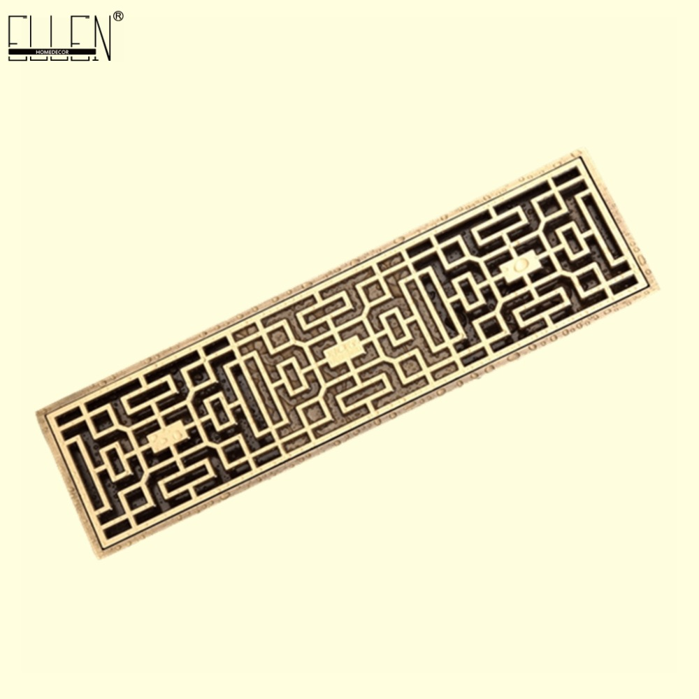 Euro Style Antique Brass Bathroom Linear Shower floor Drain 8*20cm/8*30cm Wire Strainer Art Carved Cover Waste Drainer ELD211 modern stainless steel bathroom linear shower drain floor drain wire strainer 70cm chrome cover waste drainer