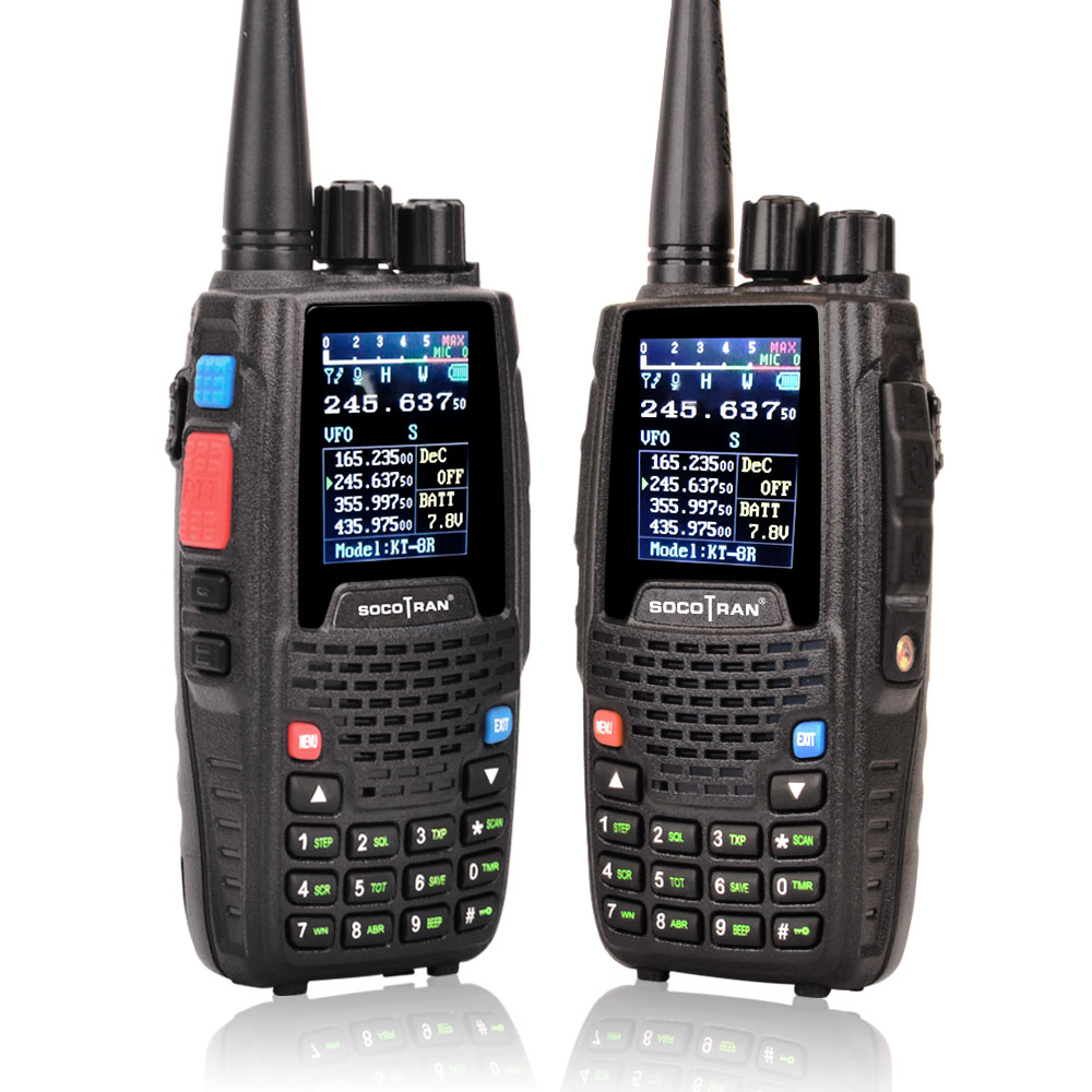 Image 3 - Quad Band Walkie talkie UHF VHF 136 147Mhz 400 470mhz 220 270mhz 350 390mhz 4 Band Handheld Two Way Radio Ham Transceiver  KT 8R-in Walkie Talkie from Cellphones & Telecommunications