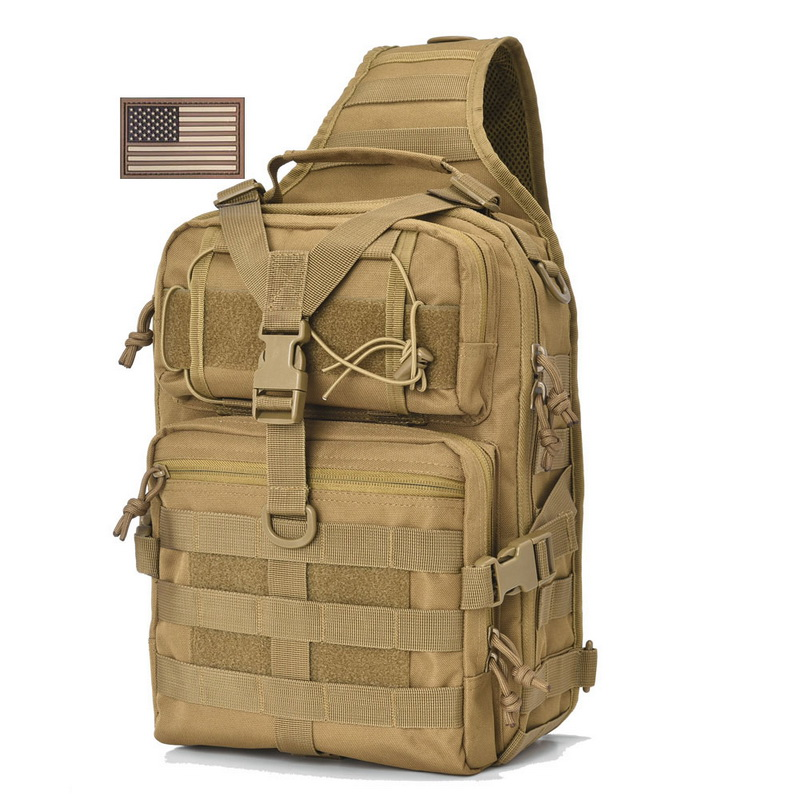 REEBOW TACTICAL Military Sling Pack Molle Assault Range Shoulder Backpack Bag EDC Bag Day Pack with USA Tactical Flag usa flag print crop tee