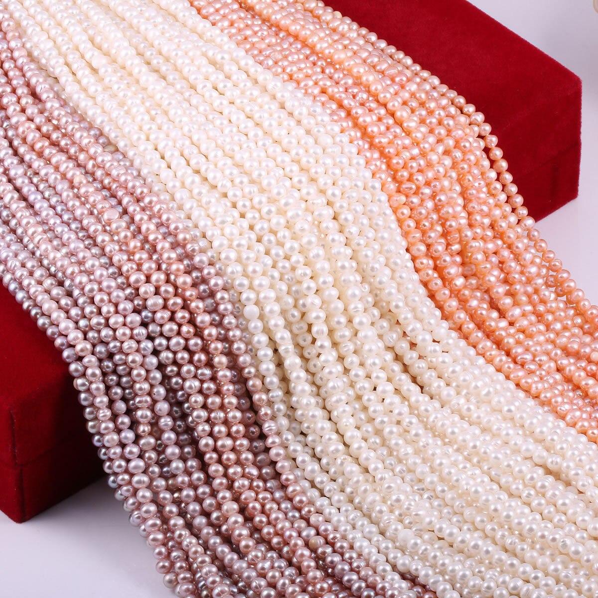 Бусы из натурального пресноводного жемчуга, высококачественные, почти круглые, 36 см, пробивные, свободные, бисер для рукоделия, женское ожерелье, браслет, изготовление ювелирных изделий Бусины      АлиЭкспресс