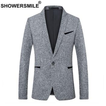 SHOWERSMILE Men Blazers 2018 Cotton Slim Fit Suit Jacket Male Gray Business Coats 5XL Pockets Autumn Winter Vintage Clothing
