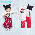 Bear Leader 2016 Cotton Children Cartoon Mouse Baby Boys Girls Sets Clothes 3Pcs(Long-Sleeved Romper+Hat+Pants)