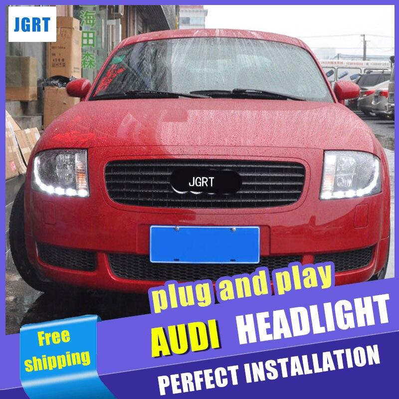 Стайлинга автомобилей передняя фара в сборе для Ауди ТТ 1999-2006 захотите никуда уходить Ангел глаз объектив водить ДХО двойным Луч H7 с HID комплект 2 шт.