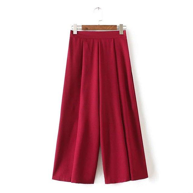 2017 Chegada Nova Europa Estilo Mulheres Chiffon Calças Perna Larga Solto Elegante Cintura Alta Lady Moda Casual Tornozelo-comprimento calças