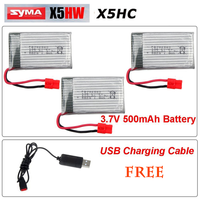 3pcs * 3.7V  500mAh Li-Po Batteries For Syma X5HC X5HW X5HC-1 X5HW-1 RC Quadcopter + Free USB Charger
