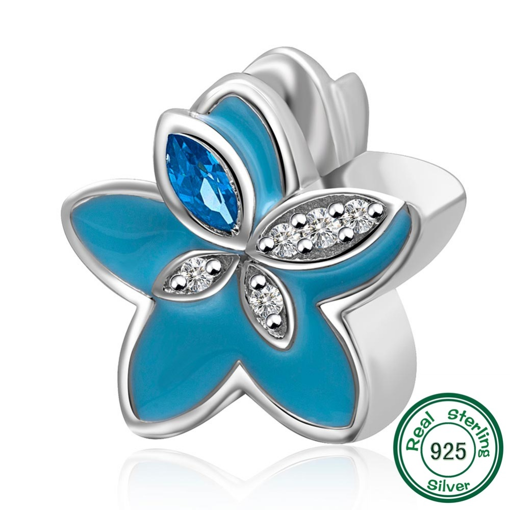 Chawin authentic 925 sterling silver bead blue flower charm bead chawin authentic 925 sterling silver bead blue flower charm bead fits pandora charms bracelets in beads from jewelry accessories on aliexpress izmirmasajfo