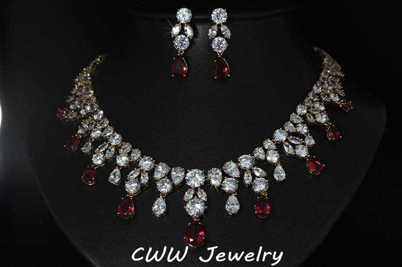 d316d0796 Dubai Design Bridal Jewelry Gold Plated Big Teardrop Wedding ...