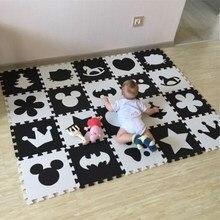 Marjinaa EVA 10 יח\אריזה תינוק וילדים לשחק רצפת מחצלת Environme מספרים/מיקי קצף מחצלת שחור ולבן כרית רצפת למשחקי תינוק
