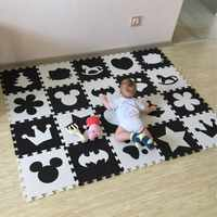 Marjinaa EVA 10 unidades/pacote Bebê E As Crianças Brincam Tapete Environme números/Mickey almofada de espuma mat Black & White piso para jogos de bebê