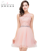 Babyonline Pink Beaded Homecoming Dresses 2017 Scoop Neck Soft Tulle Party Dresses Mini Dress Black Lace