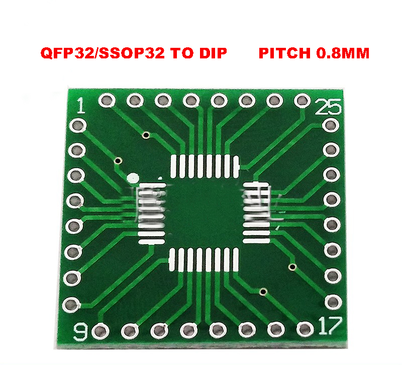 Freies verschiffen 5 pc <font><b>Adapter</b></font> PCB SOP32 SSOP32 QFP32 TQFP32 <font><b>LQFP32</b></font> FQFP32 ZU DIP 32 Transfer board 0,8mm pitch IC <font><b>adapter</b></font> Buchse image