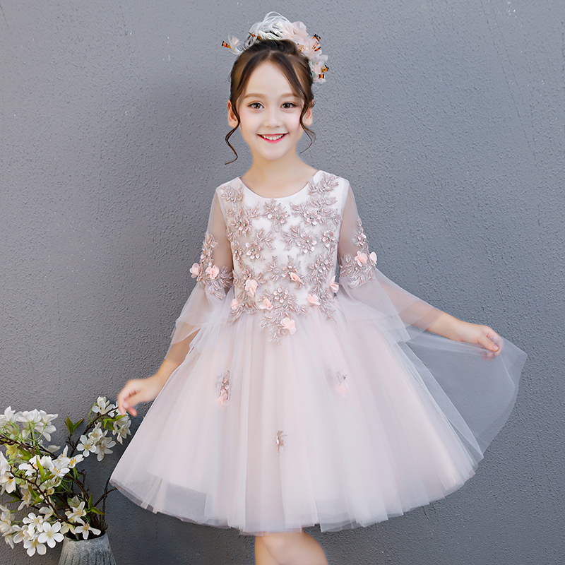 2018 Summer New Children Girls Sweet Cute Lace Princess Flowers Birthday Evening Party Dress Baby Kids Host Teens Costume Dress new summer costume girls princess dress children s evening clothing kids chiffon lace dresses baby girl party pearl dress