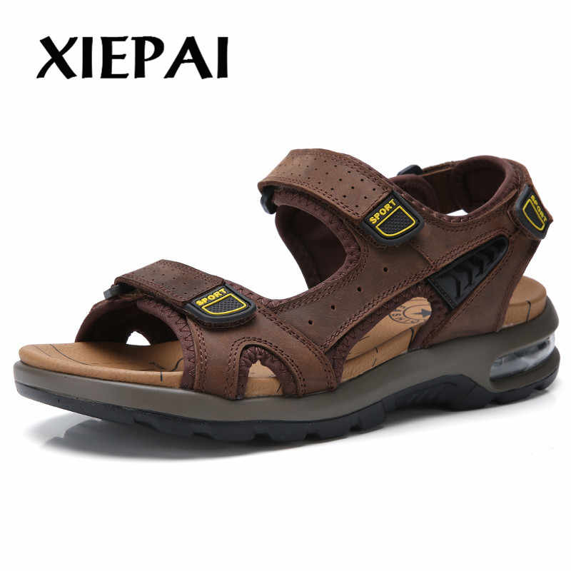 Klassieke Luchtkussen Mannen Zachte Sandalen Comfortabele Mannen Zomer Schoenen Leren Sandalen Big Size Zomer Strand Mannen Schoenen
