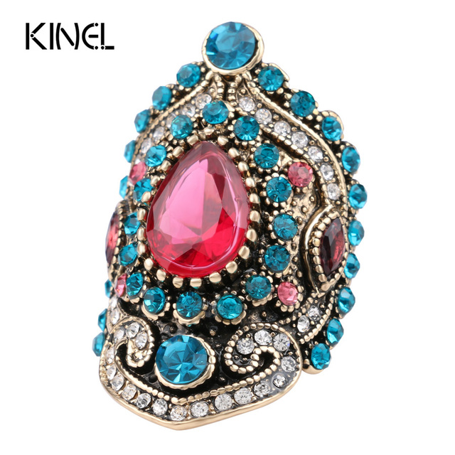 2017 New Turkey Jewelry Pink Big Vintage Wedding Rings For Women Plating Gold Mosaic Blue Crystal Fashion Love Gift