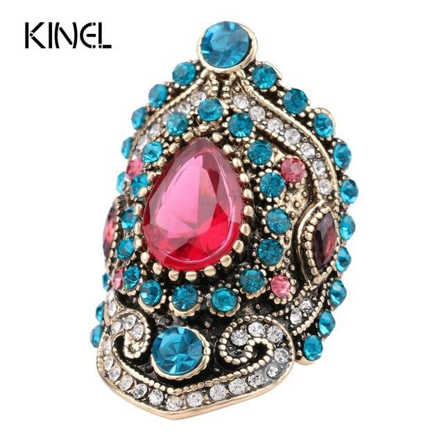 Kinel Hot Pink Big Vintage Anéis de Casamento Para As Mulheres de Cor ouro Mosaico de Cristal Azul Moda Turquia Jóias Amor Presente Tamanho 7-12