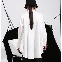 [EAM] 2019 Spring Plus Size Long Shirts Women Blouses Long-sleeve White Loose Tops Black White Cotton Shirt Big Size C006111 3