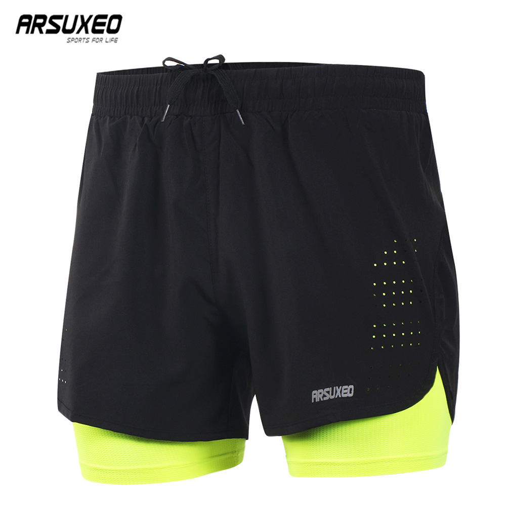 ARSUXEO  Men's Running Shorts 2 In 1 Quick Dry Sports Shorts Training Exercise Jogging Gym Shorts Breathable B179