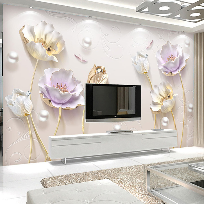 Custom Photo Wallpaper Simple Jewelry Three-dimensional Tulip Wallpaper Office Sofa Living Room TV Background 3D Wallpaper Mural free shipping custom 3d mural living room sofa bedroom modern office background wallpaper shop in singapore city at night