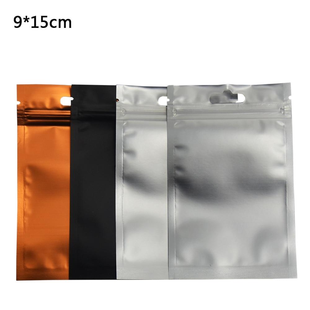 9*15cm Aluminum Foil Front Clear Resealable Zipper Plastic Retail Packaging Storage Bags Zip Lock Bag Package 100pcs/lot