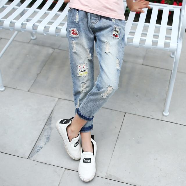 FOURSTEEDS Girls Boys Kids Little Baby Ripped Jeans Elastic Waist Distressed Denim Pants