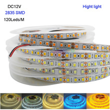 New Hight light 5M DC12V 2835 SMD 120 Leds/m IP20 Flexible LED Strip light white/warm white/White/blue/Ice blue/golden yellow