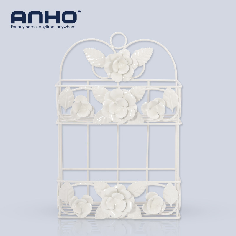 Beautiful European Style Garden Iron Double Deck Storage Rack Bathroom Shelves