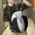 DAWABO Марка Мода Новые Личность Мужская Кожа Рюкзак 3D Tide Кобра Характер Рюкзак Заклепки Мужчины И Женщины Черный Мешок