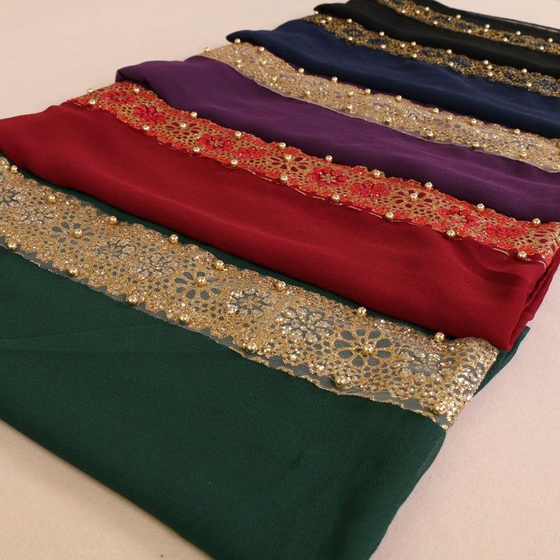 Spirited Muslim Headscarf 180*85cm Arabian Women Golden Pearl Lace Hijabs Head Wraps Lady Turkish Party Wedding Hijab Scarf Yw61 Fast Color Apparel Accessories