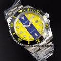 Спортивные часы BLIGER 40 мм с желтым циферблатом  мужские наручные часы с керамическим ободком  светящиеся отметки  сапфировое стекло  автомат...