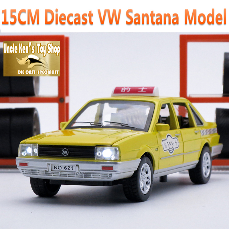 15CM Length Diecast Santana Taxi Model Car For Boys, 1/32 Scale  Alloy Metal Toys With Gift Box/Music/Light/Pull Back Function