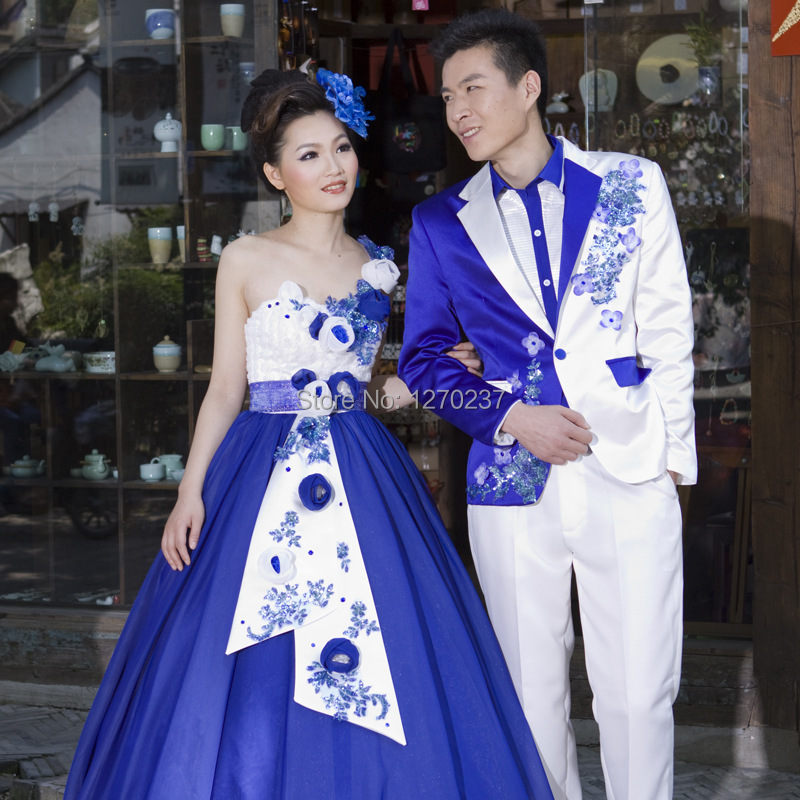 2014 Photo Theme Of Blue And White Porcelain Dress Suit Party