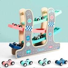 Ahşap parça oyuncak arabalar kayma arabalar yarış 4 kat kaymak merdiven yuvası parça oyun seti çocuklar için geri dönüş rampa araba yarış oyunları Gif