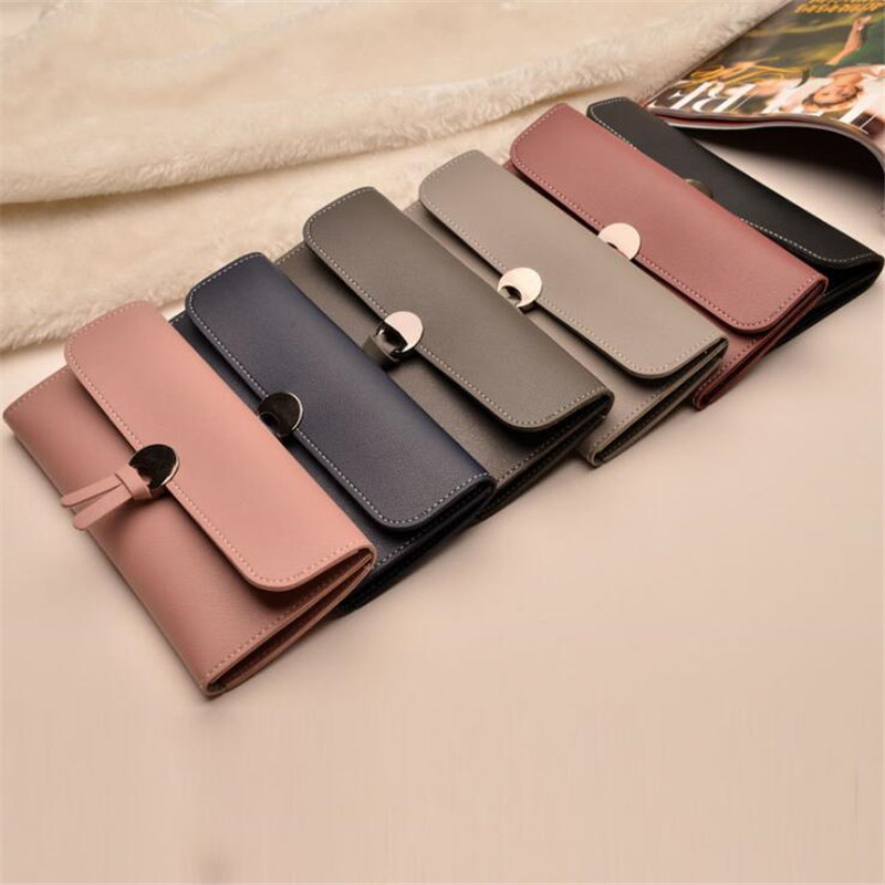 Women Wallets Fashion High-Quality Long Wallets PU Leather Tri-Fold Buckle Multi-Card Purse Wallet Designer Lady's Card Clutch