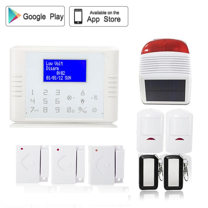 433 mhz Wireless dual network pstn gsm alarm systems security home with PIR motion sensor solar powered outdoor strobe siren