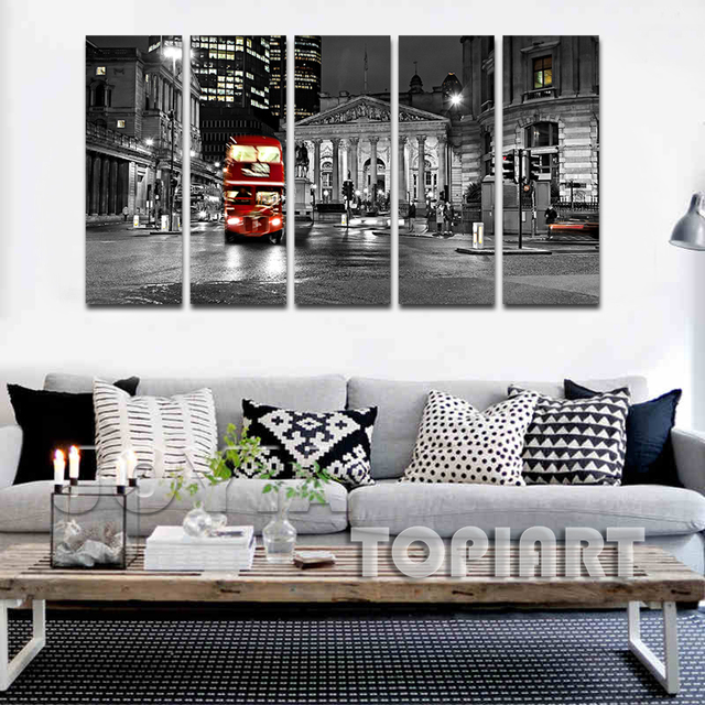 city night wall art canvas prints london red routemast decorative paintings 5 panel large canvas printings