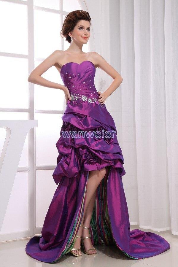 Livraison gratuite 2013 nouvelle robe de designer robe formelle avec train mariées robe de chambre violet après court avant longues robes de bal dos