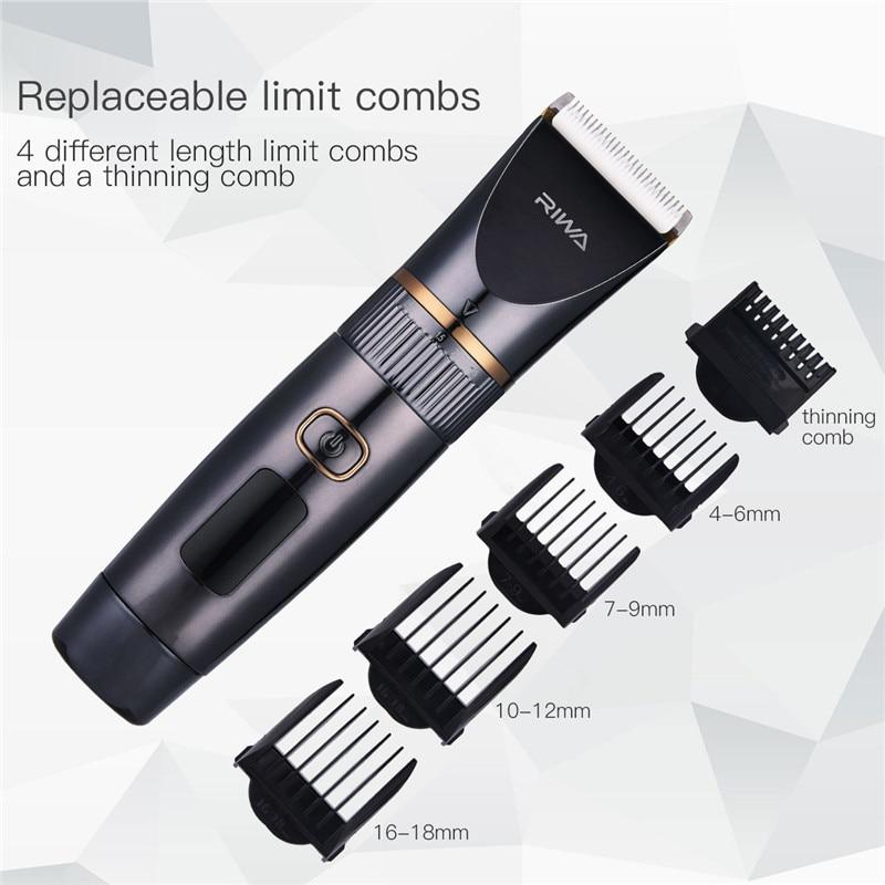 все цены на Professional Hair Trimmer LED Display Men's Haircut Cutting Machine Low Noise Cordless Titanium Ceramic Blade Hair Clipper S42 онлайн