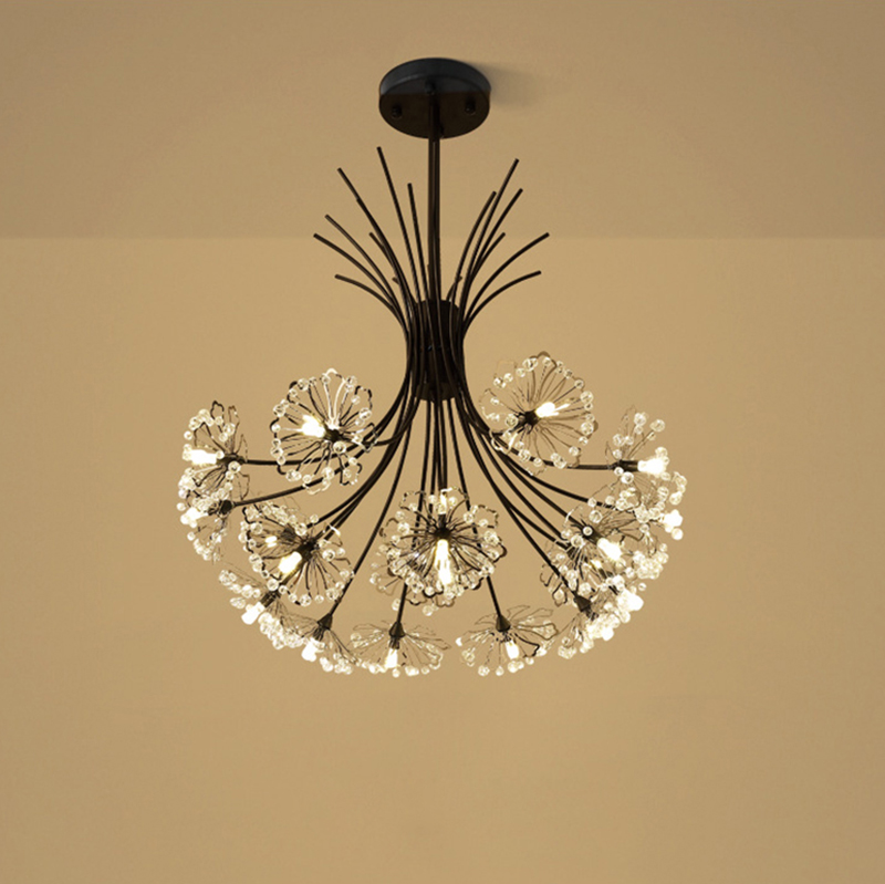 Modern Led Luminaire Suspendu Crystal Pendant Lamp Dandelion Hanging Light Fixture For Dining Room Bedroom Lustres De Cristal