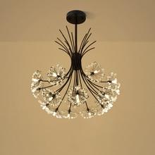 modern LED luminaire suspendu crystal pendant lamp dandelion hanging light fixture for dining room bedroom lustres de cristal