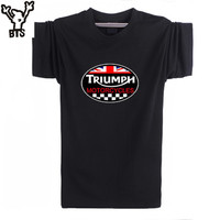 New Fashion Summer GREAT BRITAIN TRIUMPH MOTORCYCLE Short Sleeve T Shirt Men Cotton Casual Short Sleeve