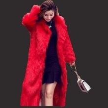 New NATURAL CASACO DE PELE Coreano imitação de pele de raposa casaco longo seção casacos de pele do falso das mulheres selvagem moda feminina da pele Do Falso casaco